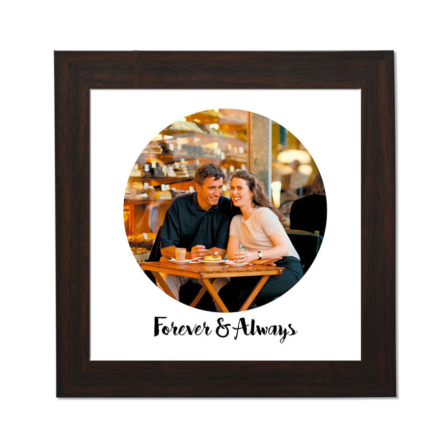 clixiclestore-Modern Circle Desk Photo Frame-8inx8in with Brown Frame-