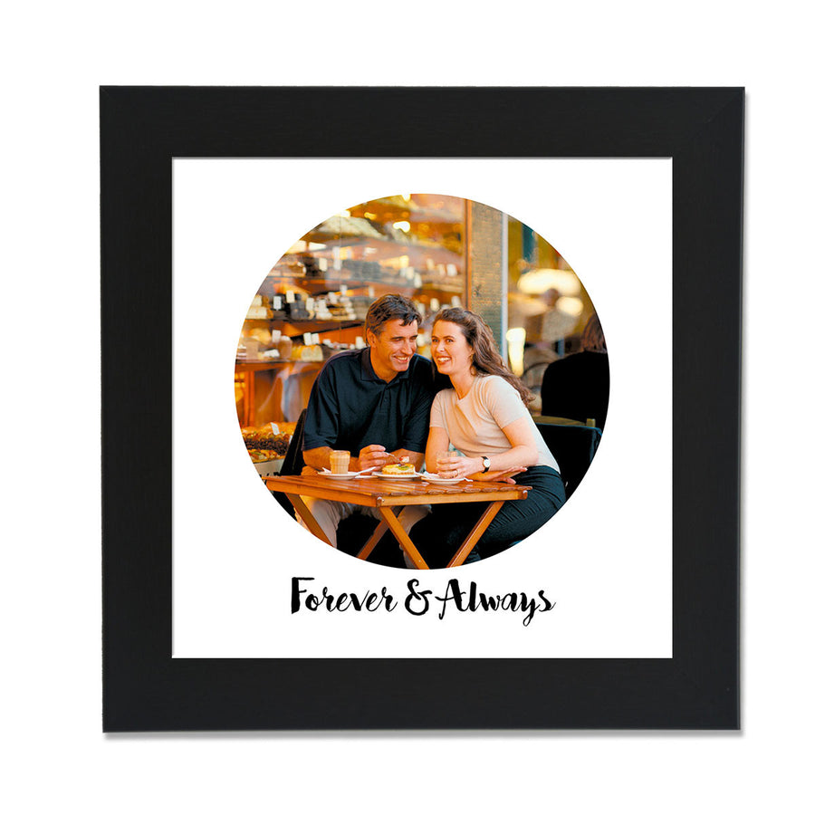 clixiclestore-Modern Circle Desk Photo Frame-8inx8in with Black Frame-