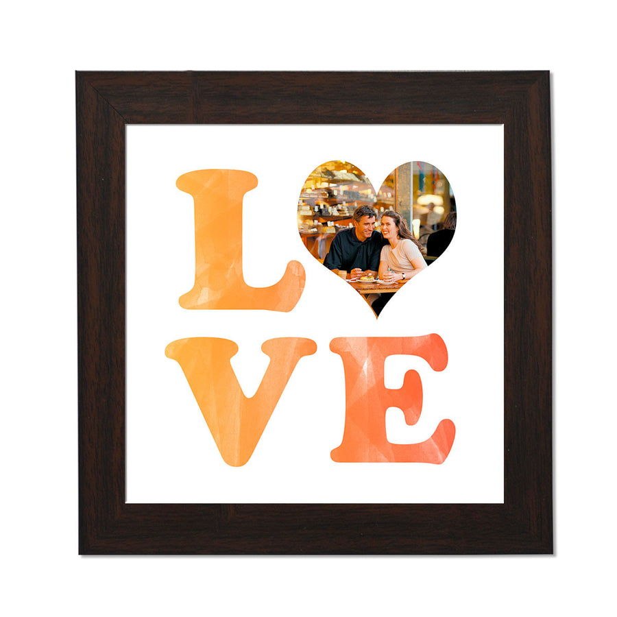 clixiclestore-Stacked Love Desk Photo Frame-8inx8in with Brown Frame-