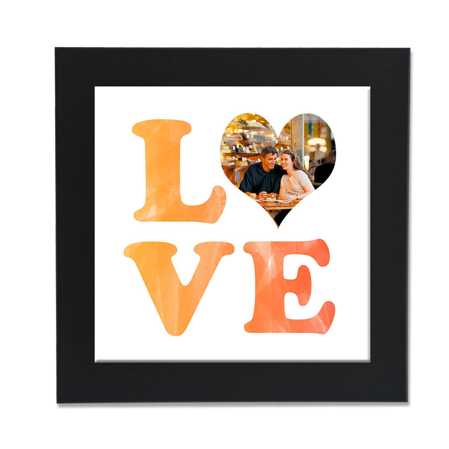 clixiclestore-Stacked Love Desk Photo Frame-8inx8in with Black Frame-