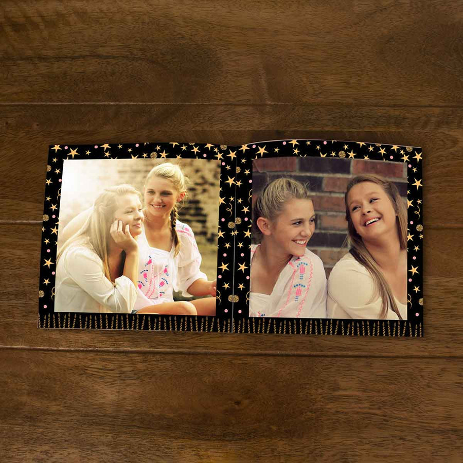 Softcover Photo Books-Birthday Black Gold Candles Flip Photo Book-