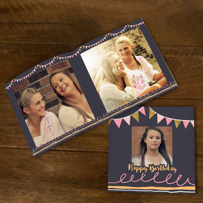 Softcover Photo Books-Birthday Banner Grey Flip Photo Book-6 inches x 6 inches-20 Pages