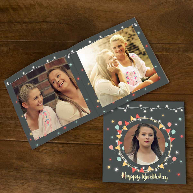 Softcover Photo Books-Birthday Lights Grey Flip Photo Book-