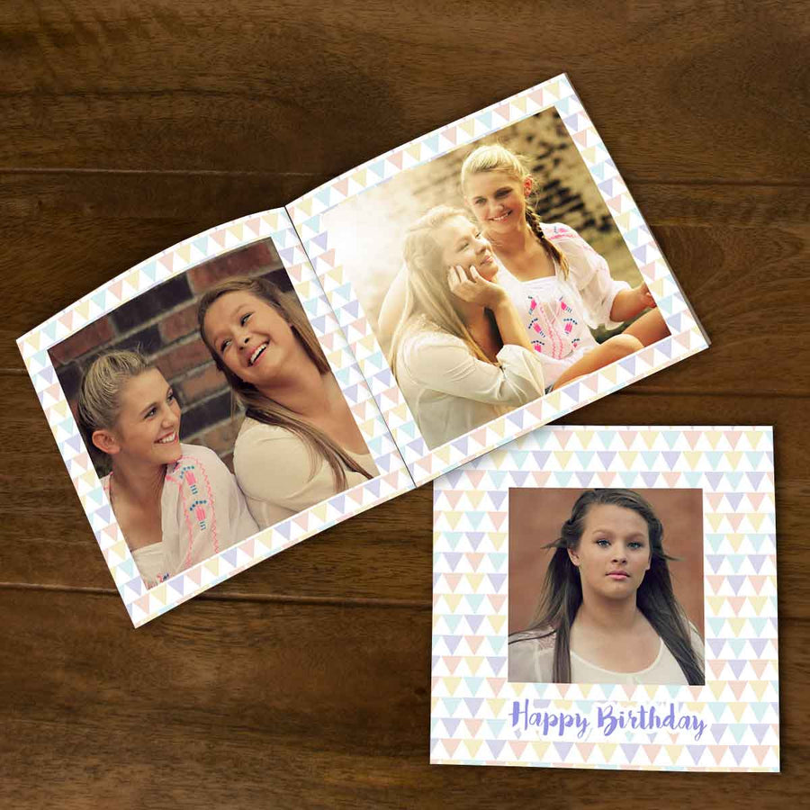 Softcover Photo Books-Birthday Multi Triangles Flip Photo Book-6 inches x 6 inches-20 Pages