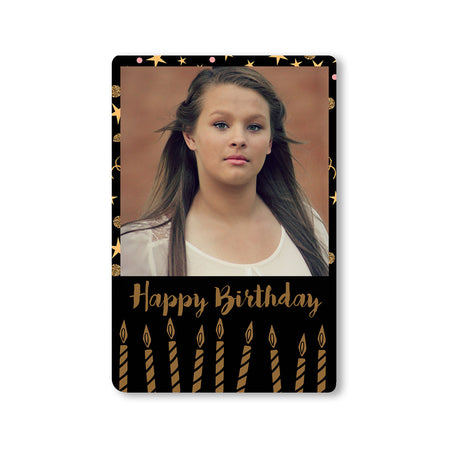 Fridge Magnets-Birthday Black Gold Candles Photo Magnet-