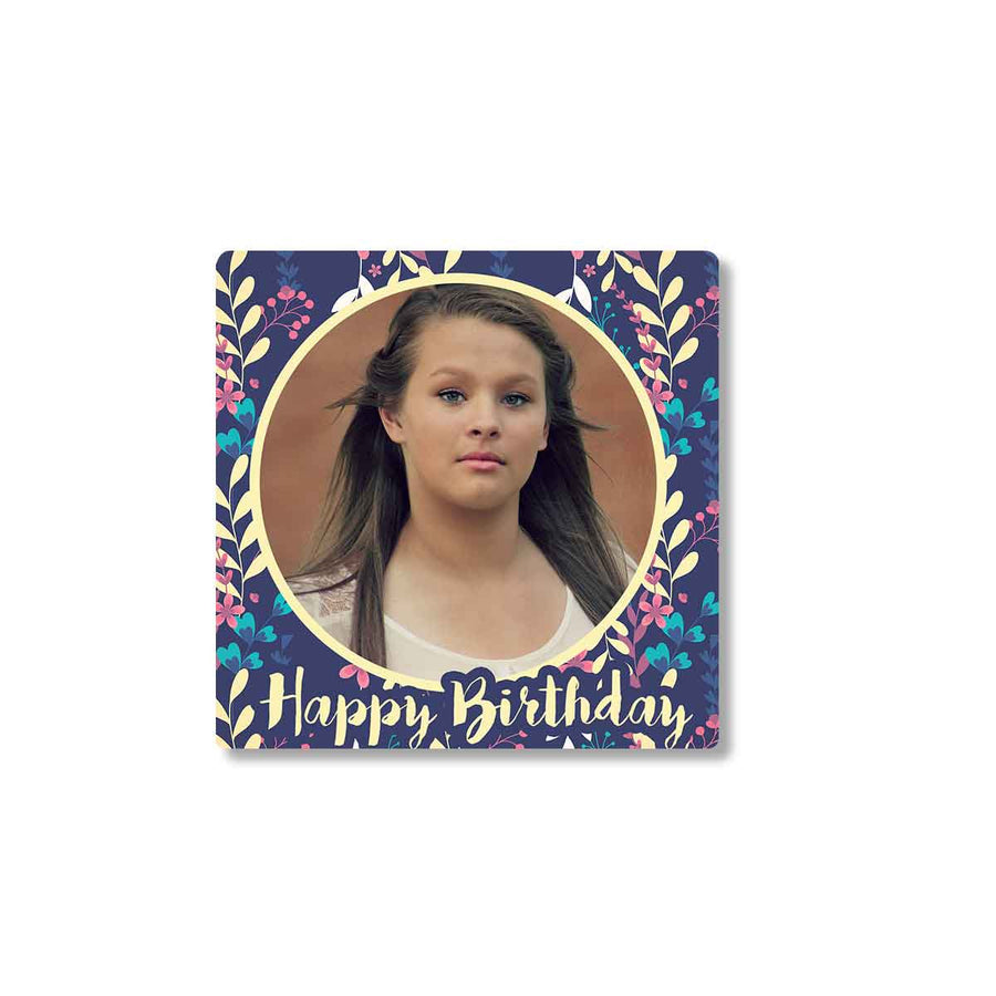 Fridge Magnets-Birthday Purple Floral Photo Magnet-