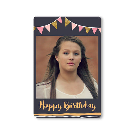 Fridge Magnets-Birthday Banner Grey Photo Magnet-