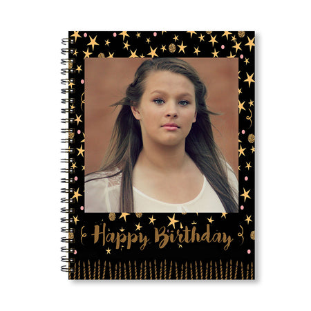 Notebooks-Birthday Black Gold Candles Notebook-