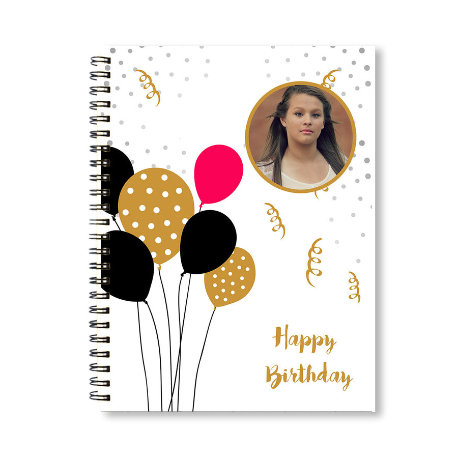 Notebooks-Birthday Red Black Balloons Notebook-