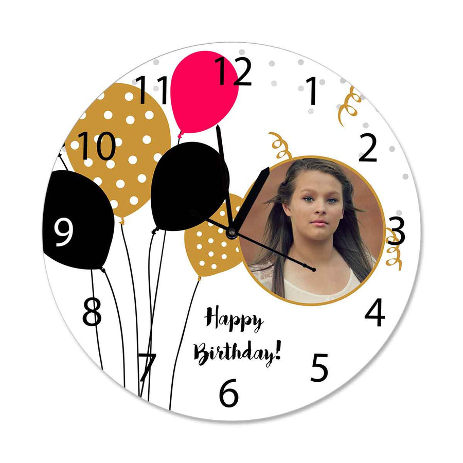 Photo Clocks-Birthday Red Black Balloons Photo Clock Round-