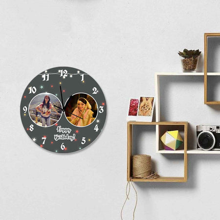 Photo Clocks-Birthday Grey Lights Photo Clock Round-