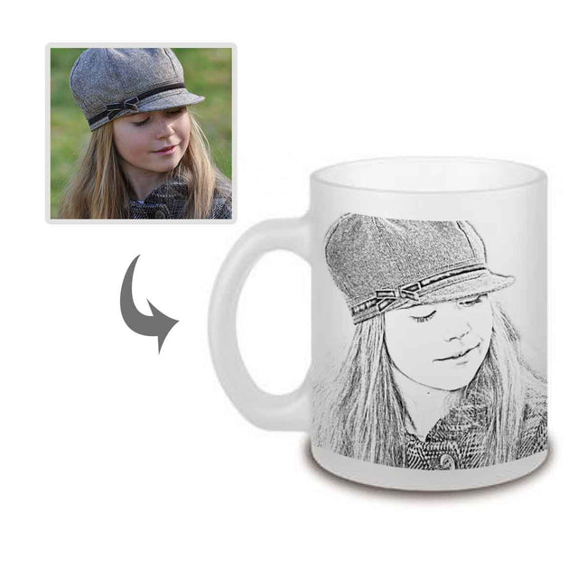 Mugs-Pencil Sketch Frosted Photo Mug-