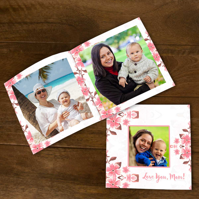 Softcover Photo Books-Spring Pink Floral Flip Photo Book-6 inches x 6 inches-20 Pages