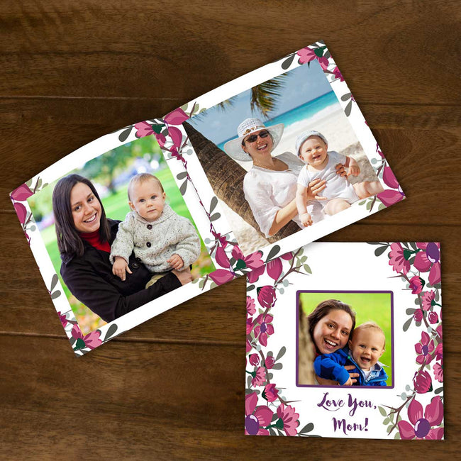 Softcover Photo Books-Spring Pink Purple Floral Flip Photo Book-6 inches x 6 inches-20 Pages