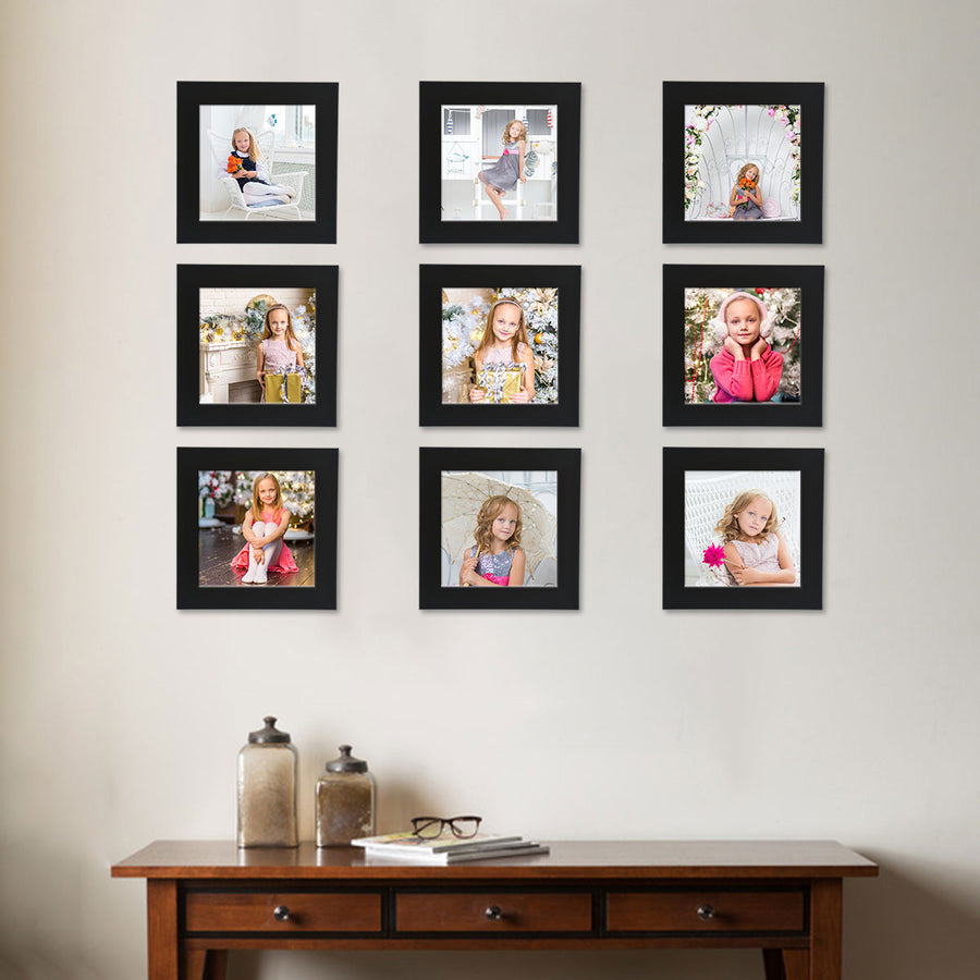 Photo Walls-Instasquare Framed Prints Set of 9-6in x 6in-Black