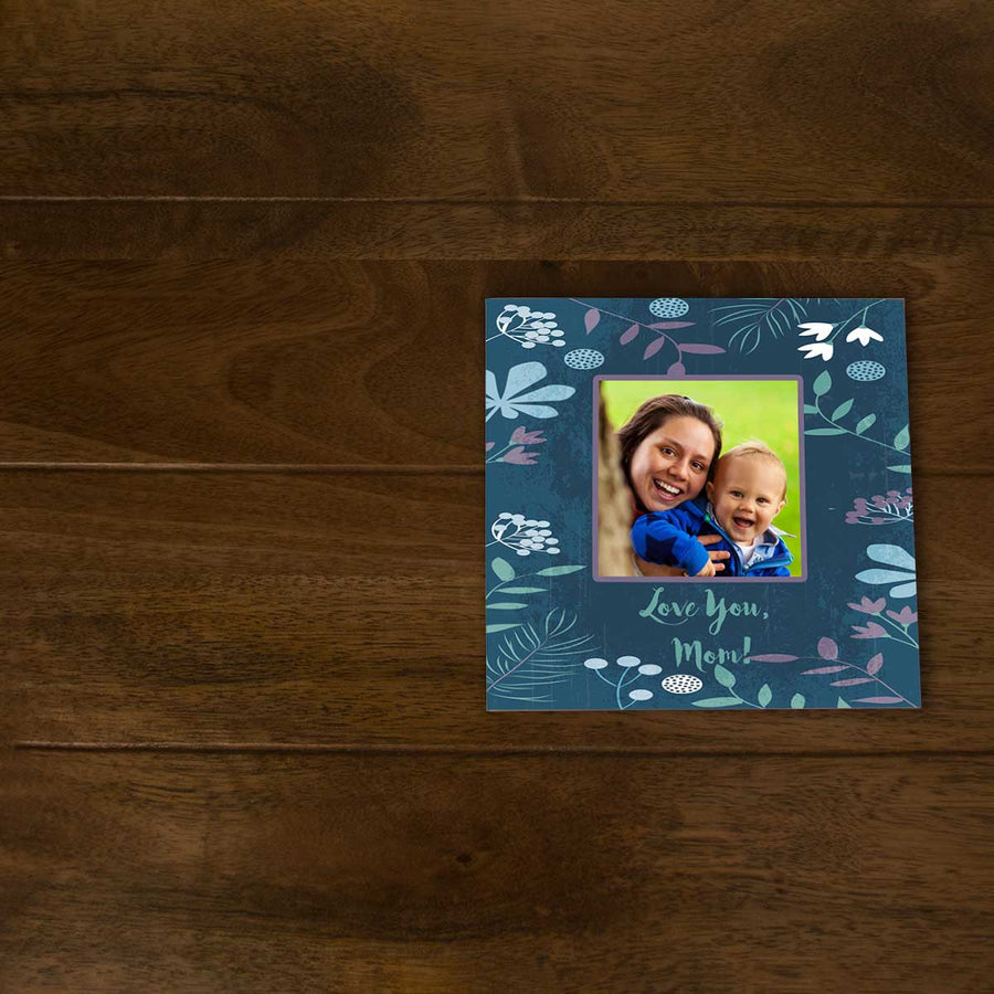 Softcover Photo Books-Floral Blue Watercolor Flip Photo Book-