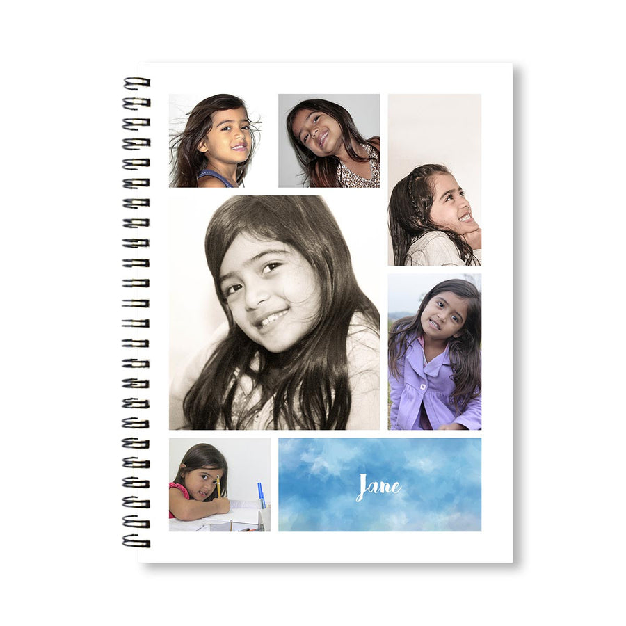 Notebooks-Classic Collage of 6 White Notebook-