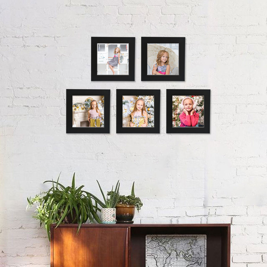 Photo Walls-Instasquare Framed Prints Set of 5-6in x 6in-Black