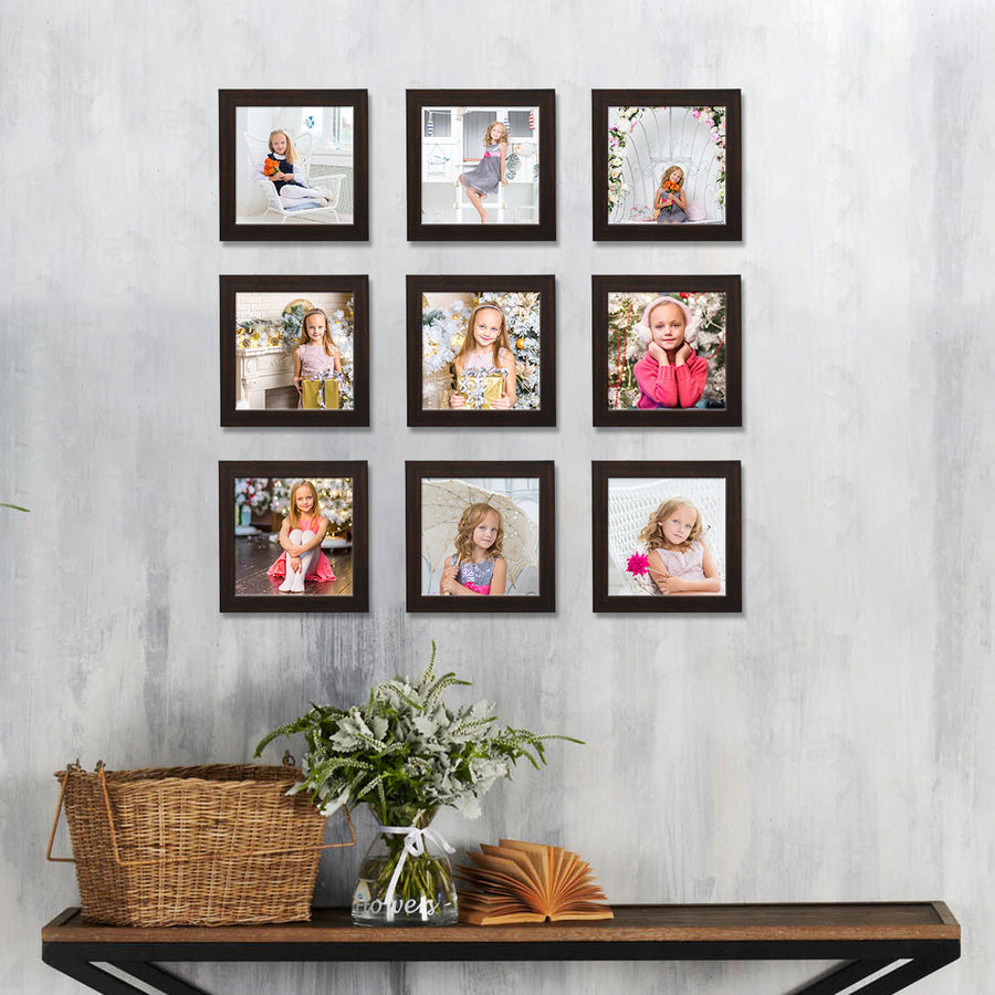 Square Photo Frames Medium Size 6in x 6in Set of 9