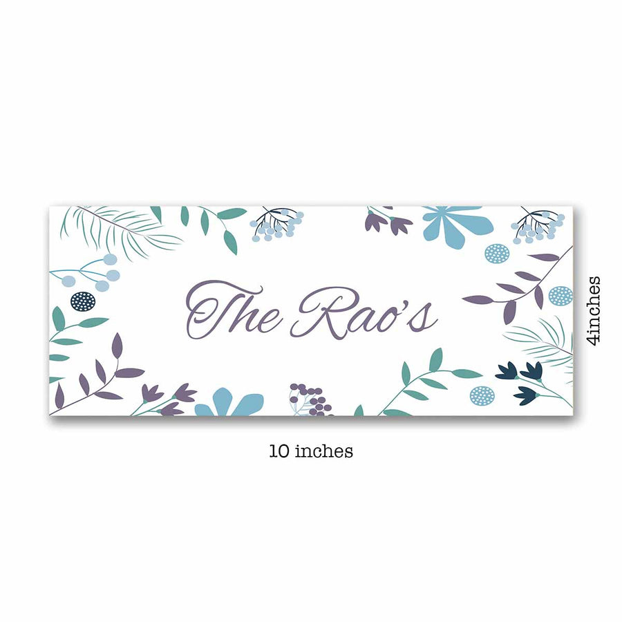 Name Plates-Floral Green Purple Name Plate-Brown Frame-