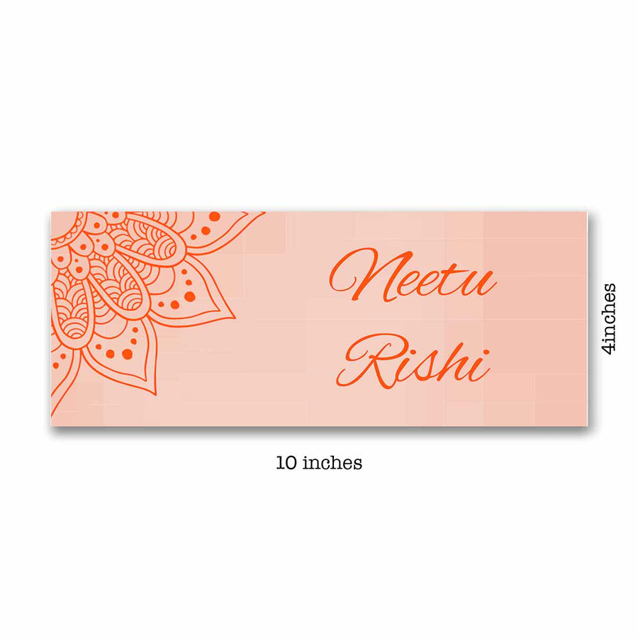Name Plates-Orange Mandala Name Plate-Brown Frame-
