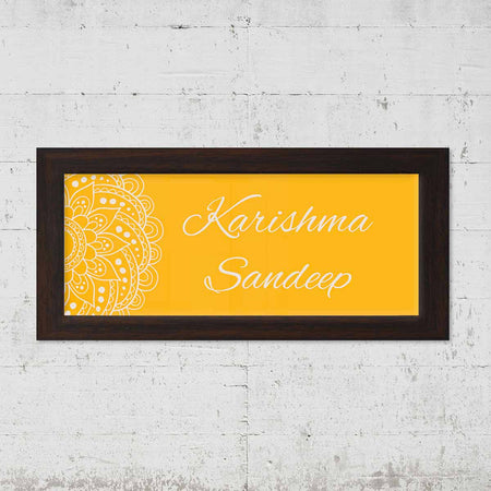 Name Plates-Chrome Mandala Name Plate-Brown Frame-