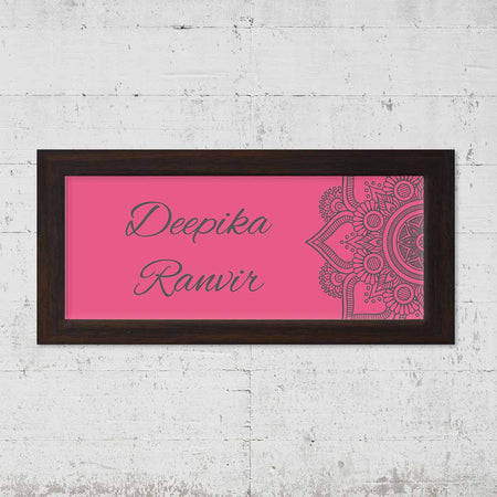 Name Plates-Pink Grey Mandala Name Plate-Brown Frame-