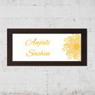 Name Plates-White Chrome Mandala Name Plate-Brown Frame-