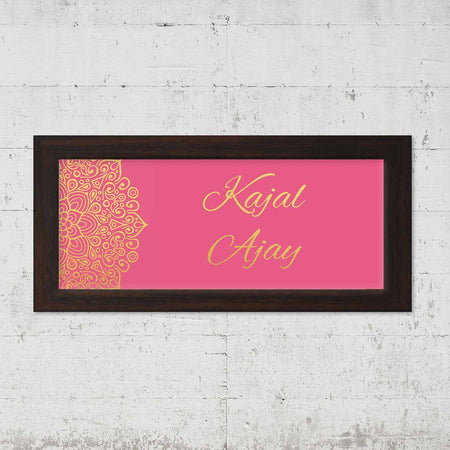 Name Plates-Pink Gold Mandala Name Plate-Brown Frame-