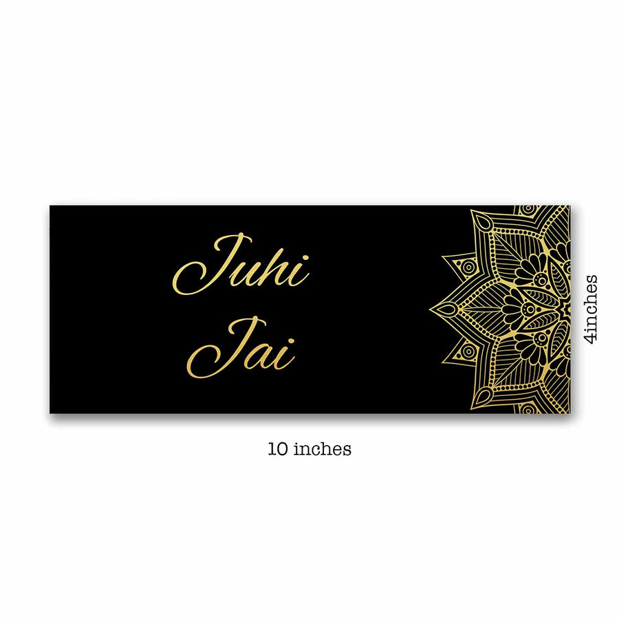 Name Plates-Black Gold Mandala Name Plate-