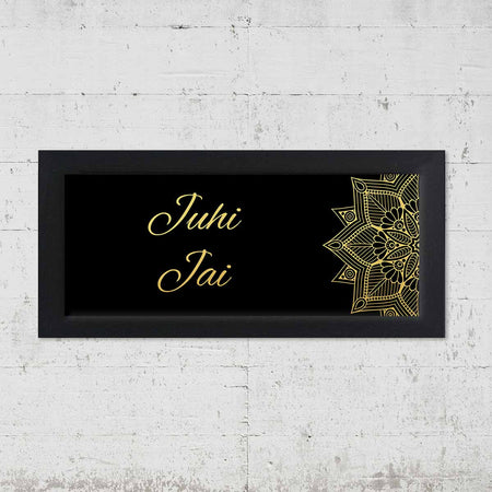 Name Plates-Black Gold Mandala Name Plate-Brown Frame-