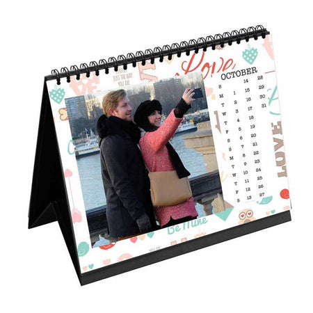 Calendars-2019 Desk Calendar Love Text Pattern-6 inches x 8 inches-