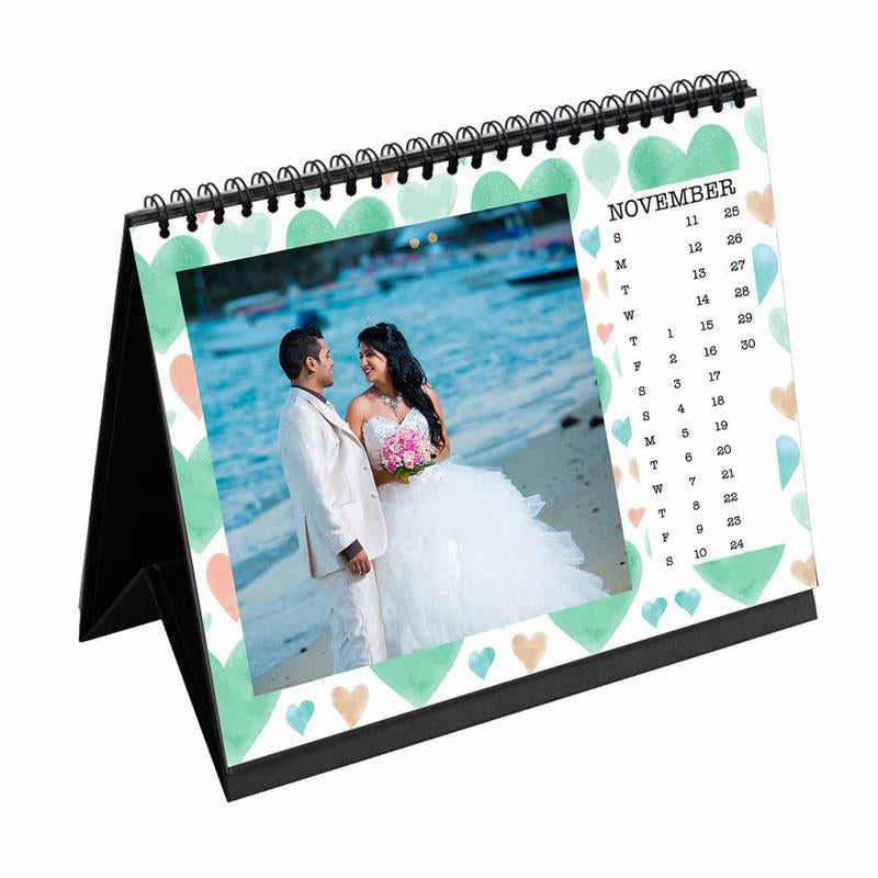 Calendars-2019 Desk Calendar Watercolor Hearts-6 inches x 8 inches-