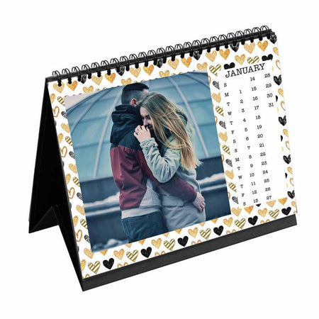 Calendars-2020 Desk Calendar Gold Black Hearts-6 inches x 8 inches-