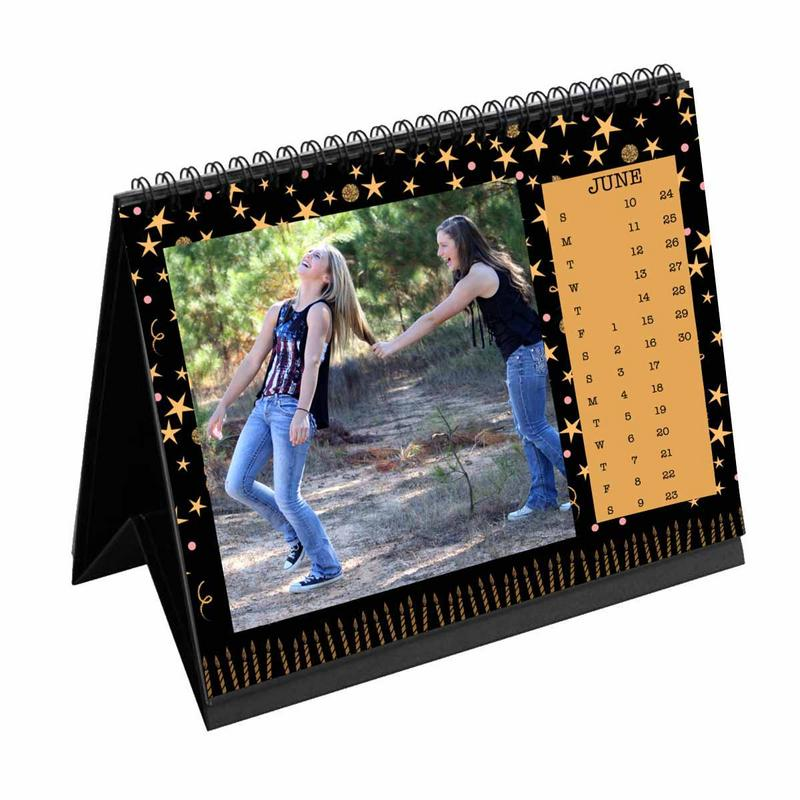 Calendars-2020 Desk Calendar Birthday Black Gold Candles-6 inches x 8 inches-