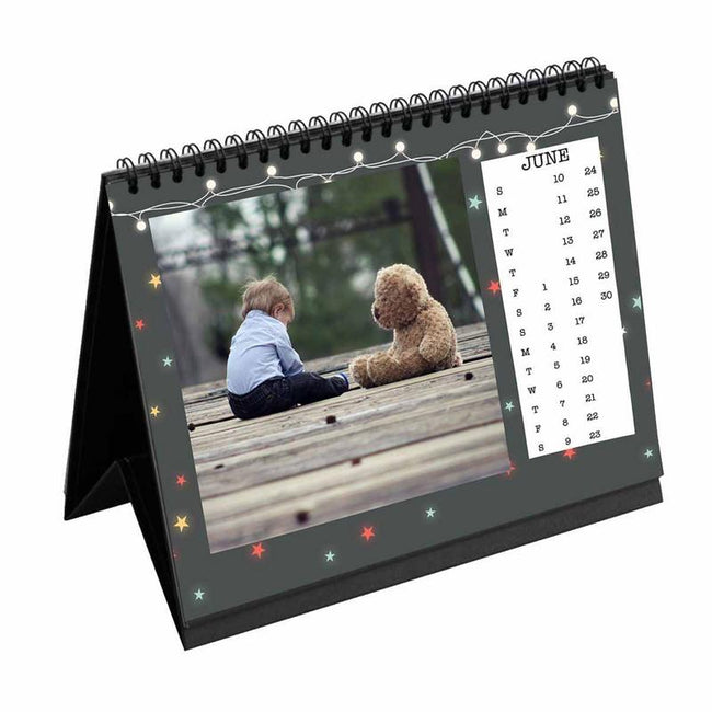 Calendars-2019 Desk Calendar Birthday Lights Grey-6 inches x 8 inches-