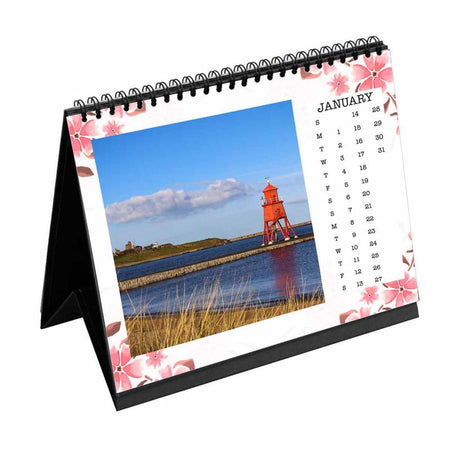 Calendars-2019 Desk Calendar Spring Pink Floral-6 inches x 8 inches-
