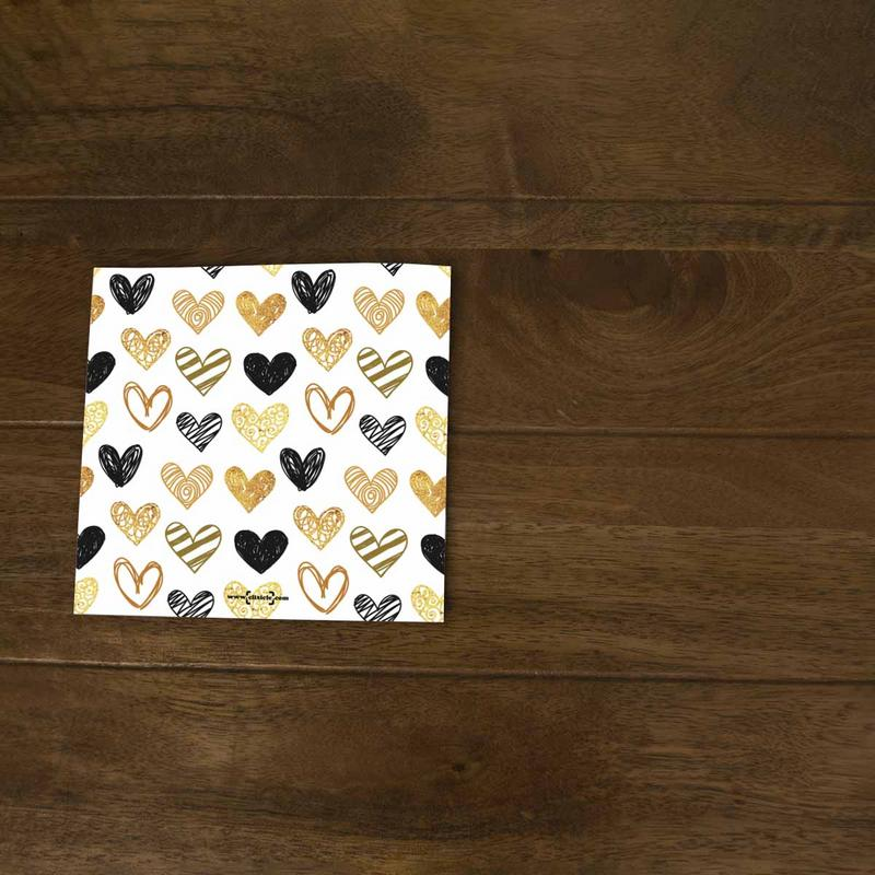 Softcover Photo Books-Valentine Gold Black Hearts Flip Photo Book-