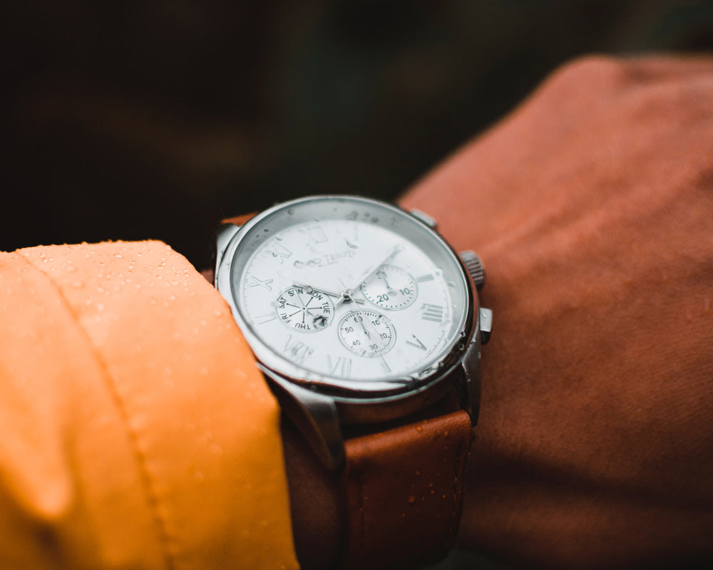 Chronograph watch with leather strap