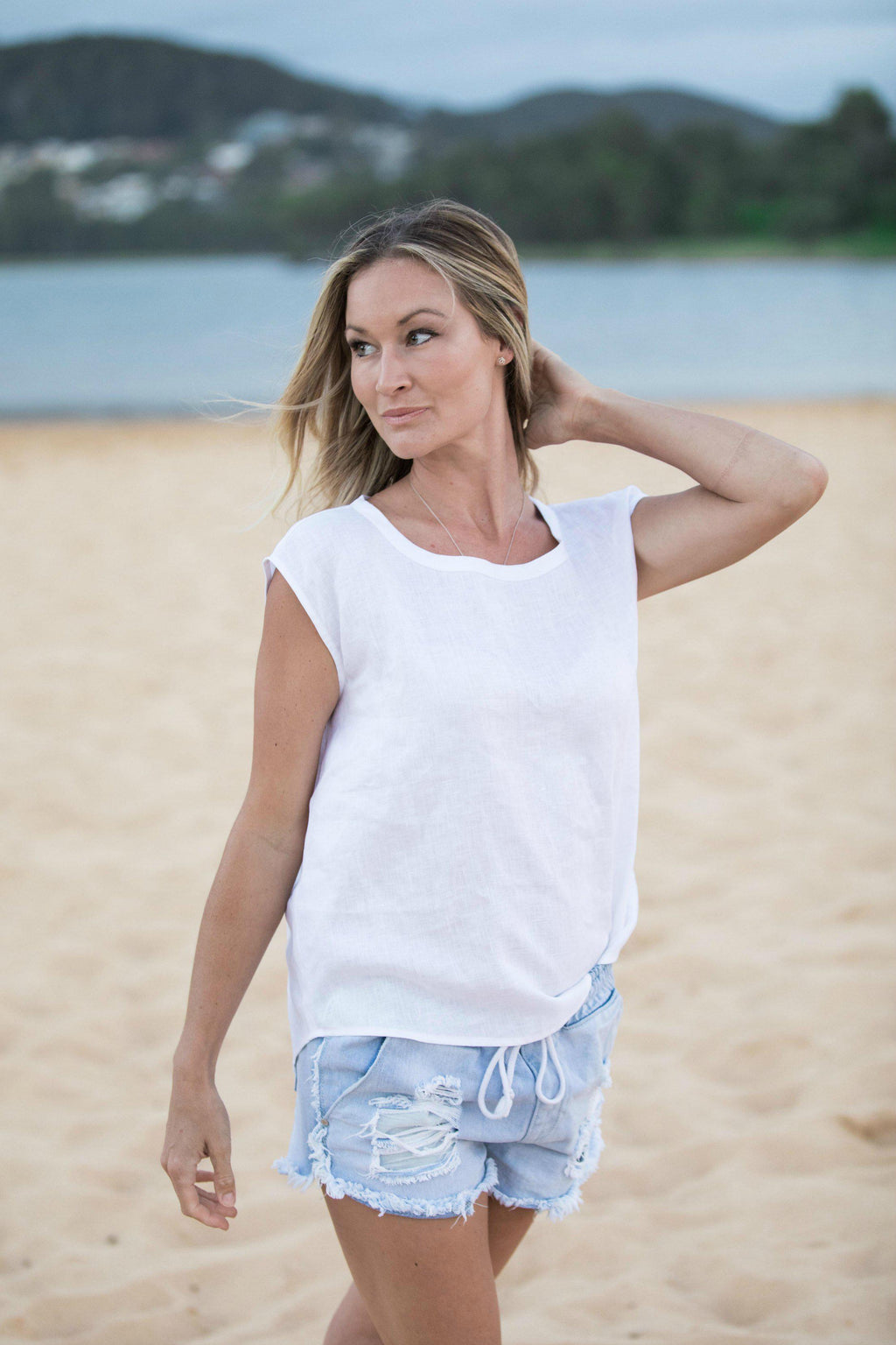 White Linen top - 100% cotton Linen Blouse - iland co.