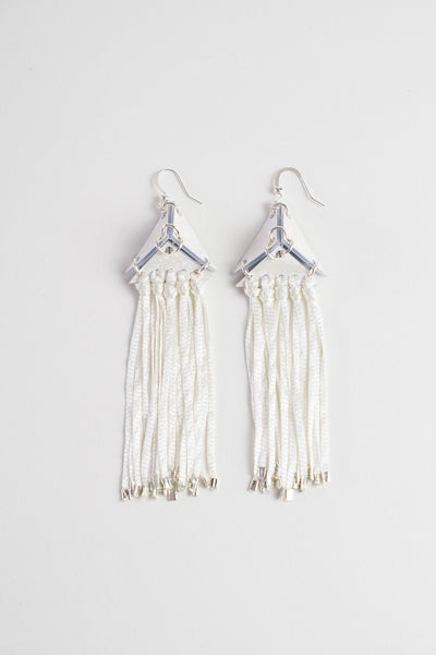 Pyramid Tassel Earrings - Pearl