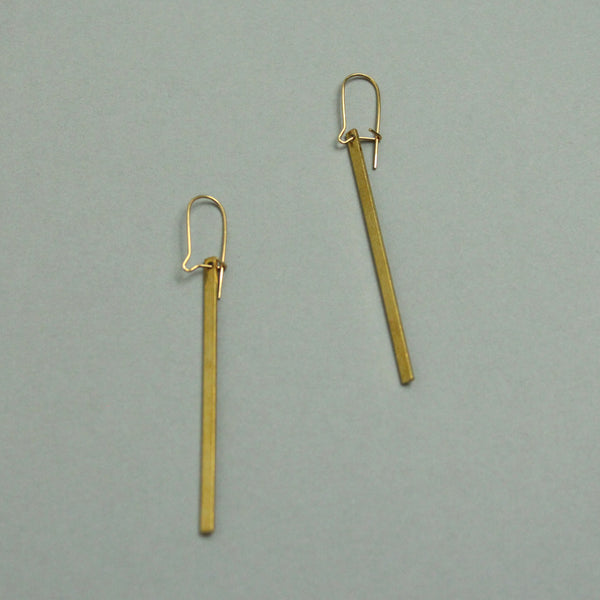 Fine Bar Brass Earrings