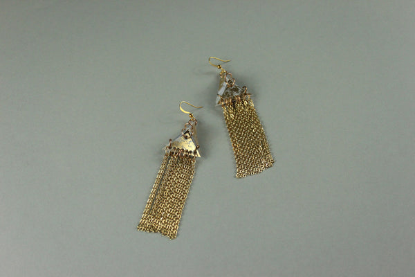 Fringed Chain Earrings - Gold