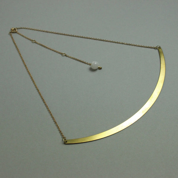 Moonstone & Brass Drop Collar
