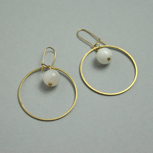 Moonstone Dot Earrings
