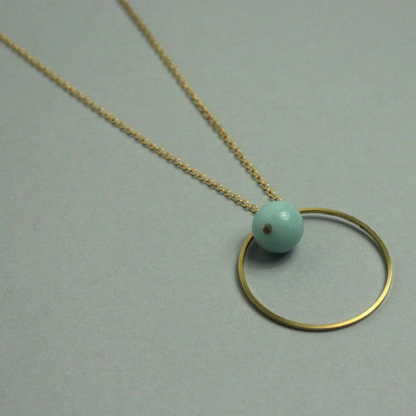 Amazonite and Brass Dot Necklace