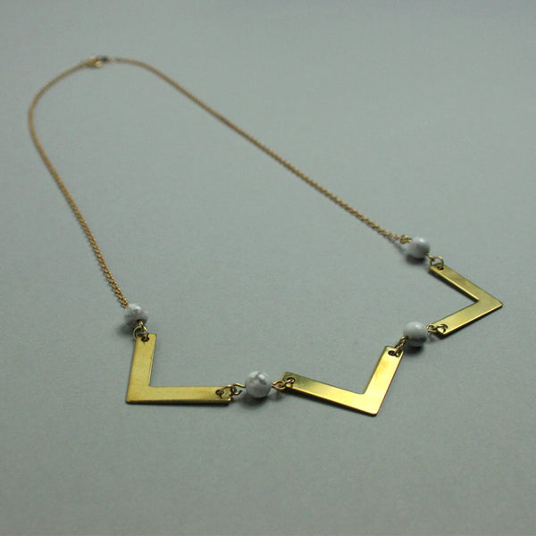 Brass and Howlite Florence Necklace