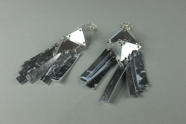 Fringed Double Pyramid Earrings - Silver