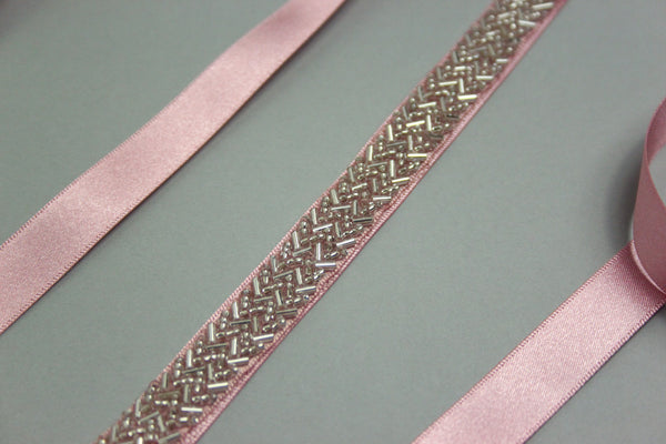 Silver Zigzag Bead and Pink Satin Bridal Belt