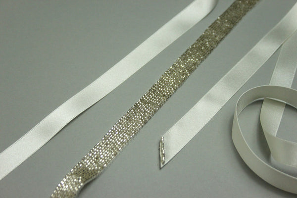 Silver Bead and Satin Bridal Belt